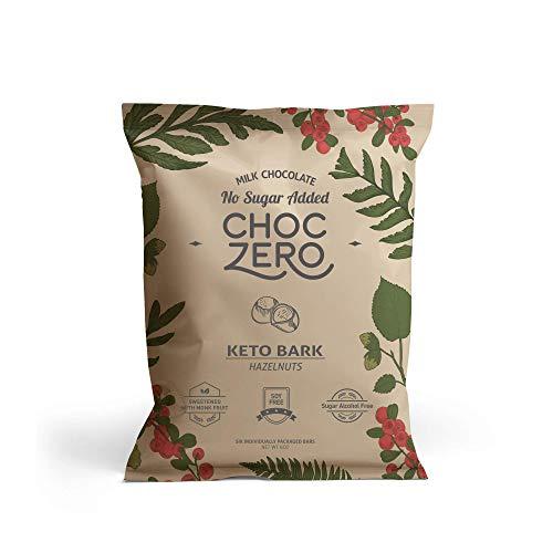 ChocZero's Keto Bark, Milk Chocolate Hazelnuts, 100% Stone-Ground, No Added Sugar, Low Carb, No Sugar Alcohols, Non-GMO (2 boxes, 6 bars/each)