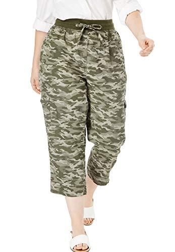 Woman Within Women's Plus Size Petite Convertible Length Cargo Capri Pant - Green Camo, 22 WP