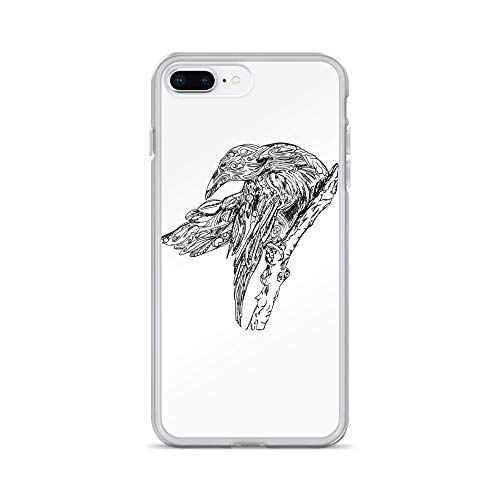 iPhone 7 Plus/8 Plus Case Anti-Scratch Creature Animal Transparent Cases Cover Raven Animals Fauna Crystal Clear -