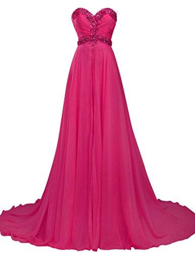 JAEDEN Sin tirantes Vestidos de baile Largo Gasa Vestido de dama de honor Vestido de la tarde Vestido de fiesta de fiesta Rosa caliente