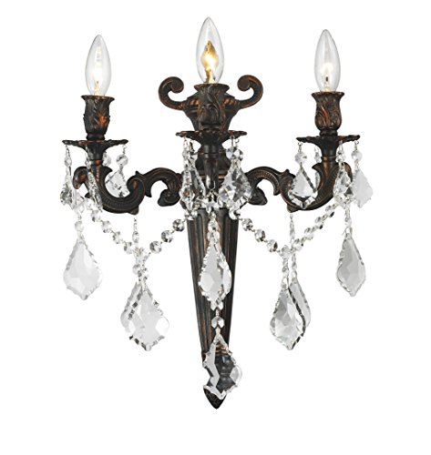 (Worldwide Lighting Versailles Collection 3 Light Flemish Brass Finish Crystal Torch Wall Sconce 15