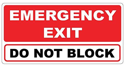 Emergency Exit Do Not Block Door - Plastic 6 in. x 12 in. - UV Protected, Weather Resistant, Indoor/Outdoor for Business and - Exit Block