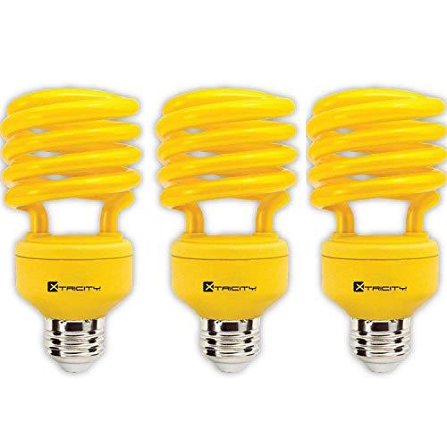 Compact Fluorescent Bug - Xtricity 23-Watt Compact Fluorescent T2 Spiral CFL Bug Light (100 Watt Incandescent Equivalent) 120V, E26 Medium Base - Energy Saver (Yellow, Pack of 3)