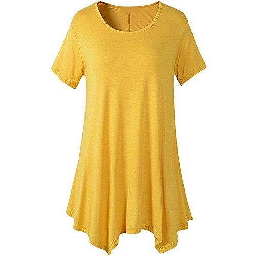 Xmy Redondo Con Sólido Corta Amarillo Holgada Cuello Camiseta Color Largo Señoras De Gran Manga Número rvUrZC