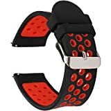 Universal 22mm Width Silicone Watch Band Replacement (22mm, Black-Red)