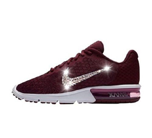 Bling Nike air max sequent 2, Swarovski Nike shoes, Womens Nike air max sequent bordeaux, Blinged out Nikes shoes, Glitter Nikes