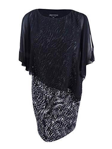 (Connected Apparel Womens Pleated Chiffon Overlay Cocktail Dress B/W 10)