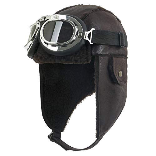 ililily Aviator Hat Winter Snowboard Fur Ear Flaps Trooper Trapper Pilot Goggles, Dark Brown]()