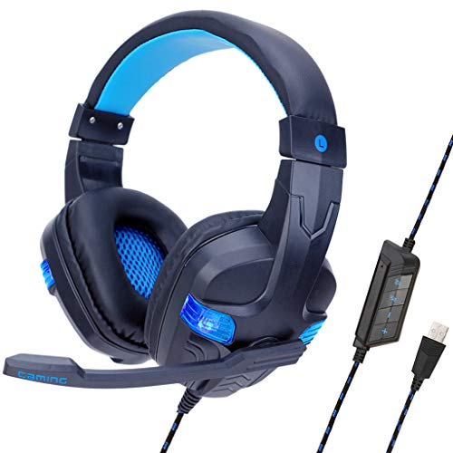Price comparison product image BIYATE Gaming Headset for PS4,  PC,  Xbox One,  Stereo Headphones for Laptop,  Mac,  Nintendo Switch with 7.1 Surround Sound,  LED Lights, HI-FI Noise Cancelling Mic,  Breathing Ear Pads,  Volume Control