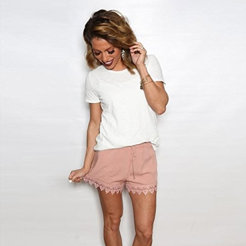 Estate Donna Nuova Puro Rosa Cuciture Shorts Pizzo Casual Estate VICGREY wxqHPw