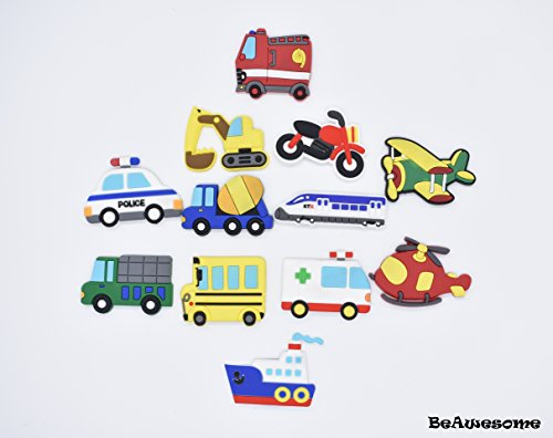 Refrigerator Magnets Home Kitchen Décor Education Toys Set of 12 Transport vechile Magnets Wall Décor Stickers ()