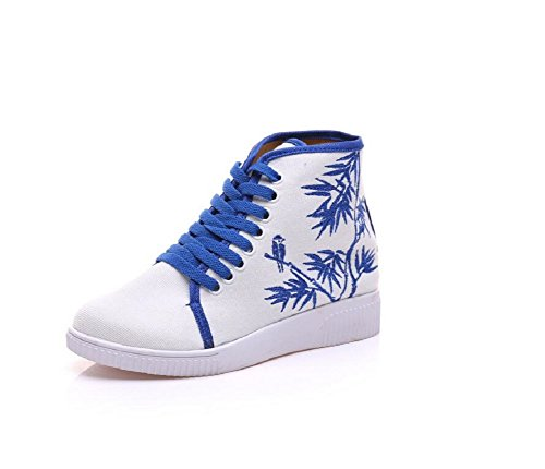 Lazutom Women Lady Vintage Embroidery Ankle-High Casual Sneaker Shoes Blue