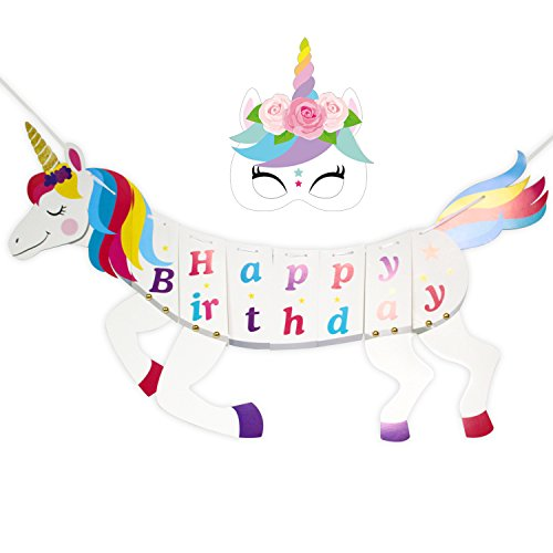 Unicorn Happy Birthday Party Banner,Rainbow Unicorn Party Supplies Unicorn Themed Birthday Party Supplies DIY Gold Party Decorations Magical Unicorn Backdrop NEW for 2018