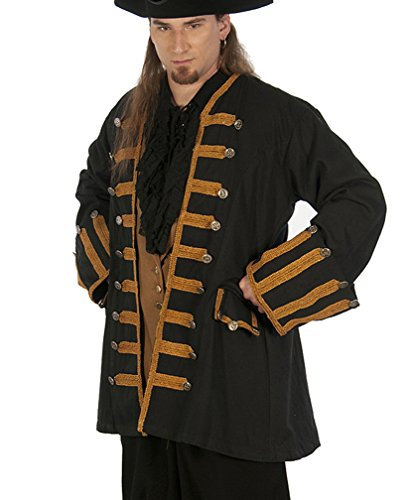 Dress Like A Pirate Captain ansell Frock Coat RE-enactor Clothing Quality (Medium, Black With Antique Gold (Renaissance Sca Trim)