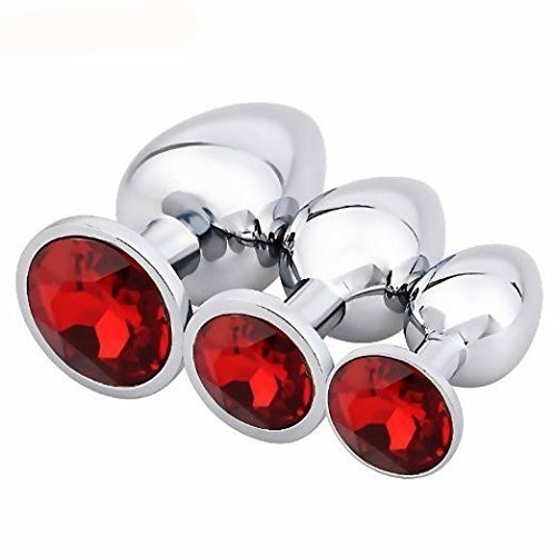 JIUAI 3Pcs Luxury Jewelry Design Stainless Steel Anal Butt Plug Fantasy Sex Restraints Bondage SM Large+Medium+Small Anal Stimulation toy for Unisex Masturbation With Penis Condom(Red)