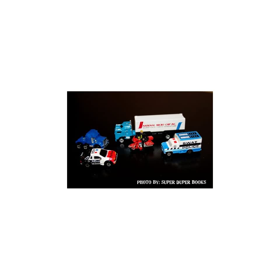 Micro Machines Semi Trucks with a Trailer, Swat Police Van, Police Car, and Motorcycle with Rider Toys