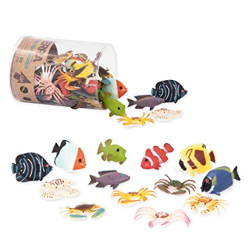 Terra by Battat - Tropical Fish World - Assorted Miniature Fish Toys & Cake Toppers for Kids 3+ (60 Pc)
