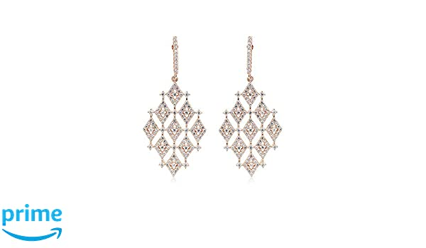 Izaara 925 Sterling Silver Pink Gold Plated Stud Earrings