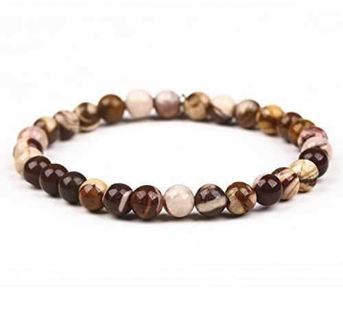 6MM Gemstone Beads Srtetch bracelet with Silver leaf Pendant Unisex Jewelry-Men-Striped - Leaf Striped Ruby