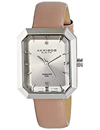 Akribos XXIV Women's AK749PK Lady Diamond Analog Display Swiss Quartz Beige Watch