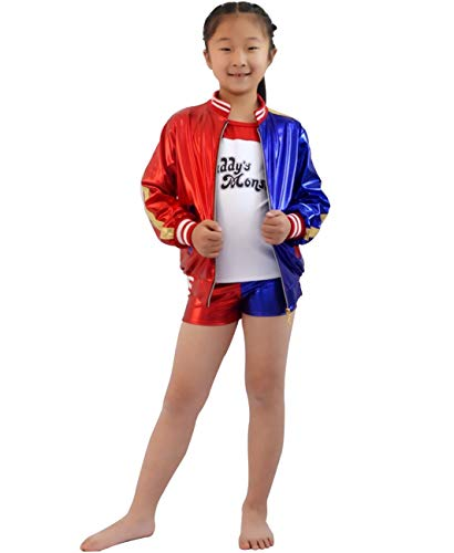 AQTOPS Halloween Suicide Squad Costume for Girls Party Harley Quinn Role Play Dress Up
