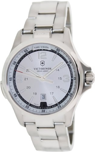 Victorinox Swiss Army Men's Night Vision 241571 Silver Stainless-Steel Swiss Quartz Watch with Silver Dial