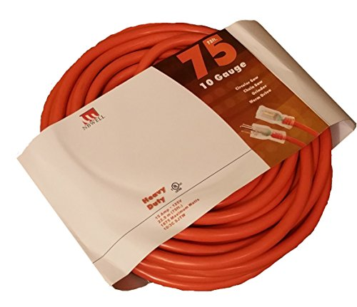 NBWELL 75 Ft 10 Gauge Extension Power Cord 10/3 Lighted End by NBWELL