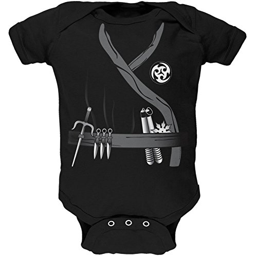 (Halloween Ninja Assassin Costume Black Soft Baby One Piece - 0-3)