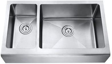 Chef Series 33 Inch Stainless Steel Premium 16 Gauge Smooth Flat Front Farm Apron Kitchen Sink 30 70 Double Bowl 15mm Radius Design with Free Accessories
