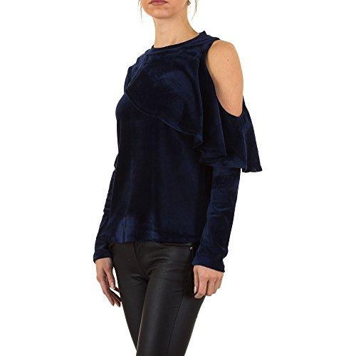 Cold Shoulder Samt Sweatshirt Für Damen , Dunkelblau In Gr. L bei Ital-Design