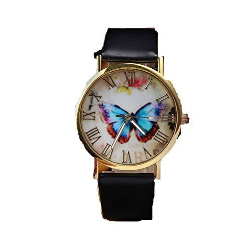 - LUCA Women Retro Butterfly Watch Round Dial Leather Band Analog Quartz Wrist Watch