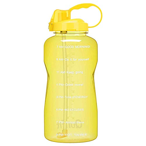 QuiFit Gallon Motivational Water Bottle - with Straw & Time Marker,BPA Free Reusable Large Leakproof Portable Water Jug,for Fitness Camping Outdoor Sports