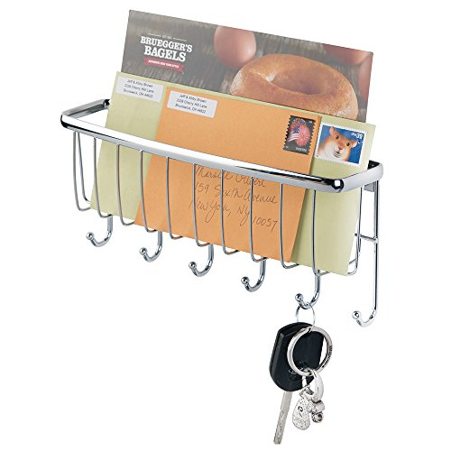 mDesign Mail, Letter Holder, Key Rack Organizer for Entryway, Kitchen - Wall Mount, Chrome