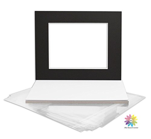 Mat Board Center, Pack of 10, Black Pre-Cut 16x20 Picture Mat for 11x14 Photo with Backing & Clear Bags