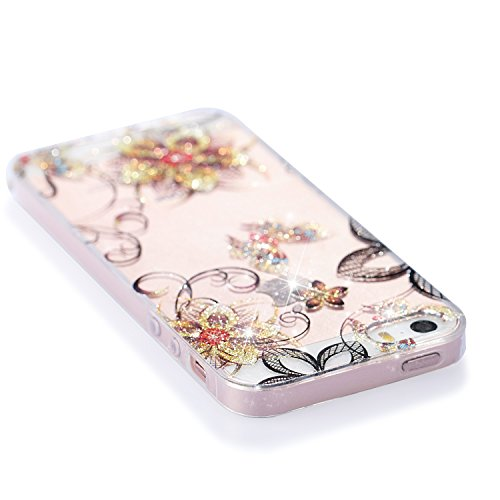 Qiaogle Teléfono Caso - Funda de TPU silicona Carcasa Case Cover para Huawei Y5 2017 / Y6 2017 (5.0 Pulgadas) - YB75 / Rojo Hojas YB79 / Dorado Mariposa