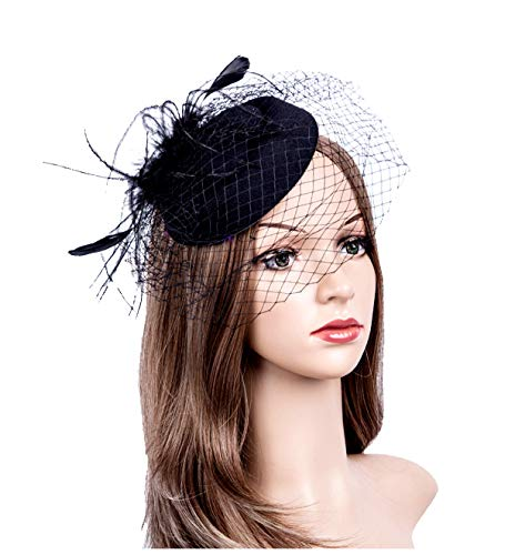 Fascinators Hats 20s 50s Hat Pillbox Hat Cocktail Tea Party Headwear with Veil for Girls and Women (1-B1-Black)