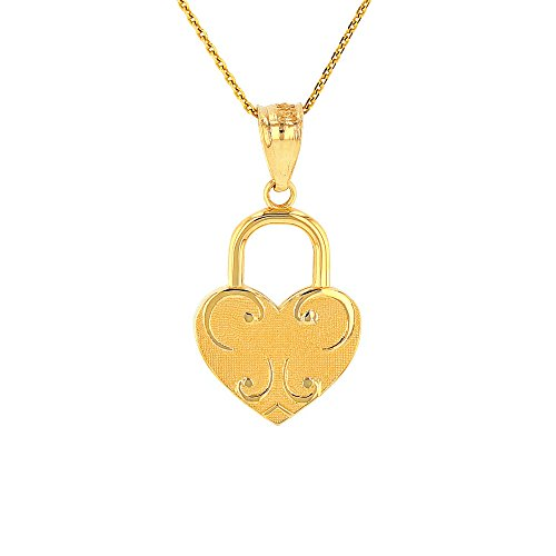 Solid 10k Yellow Gold Swirl Heart Shaped Love Padlock Pendant Necklace, 18