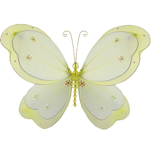 The Butterfly Grove Chloe Butterfly Decoration 3D Hanging Mesh Nylon Layered Decor, YellowMedium, 13