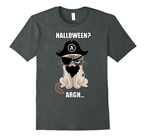 Mens Grumpy Cat Halloween Argh Pirate Costume Graphic T-Shirt Large Dark Heather for $<!--$19.99-->