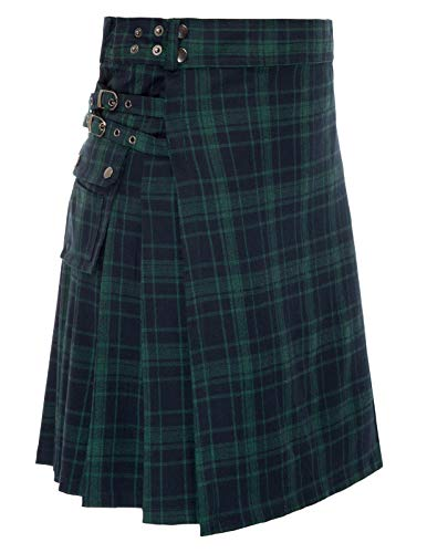 SCARLET DARKNESS Scottish Kilt Tartan Goth Outdoor Utility Highland Kilts (Black Watch,S) ()