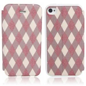 Rhombus Pattern Flip-open Protective Leather Case for iPhone 4/4S ( 4 )