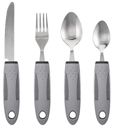 Adaptive Utensils (4-Piece Kitchen Set) Non-Weighted, Non Slip Wide Handles for Hand Tremors, Arthritis, Parkinson