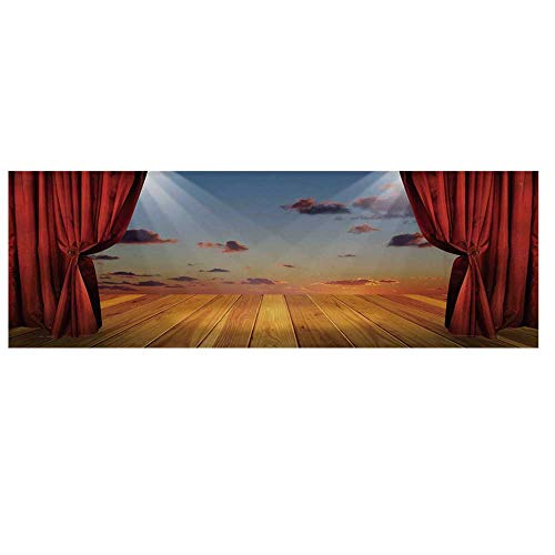 Musical Theatre Home Decor Microwave Oven Cover,Dreamlike Fantasy Stage with Drapes Dramatic Cloudy Sunset Sky Cover for Kitchen,36