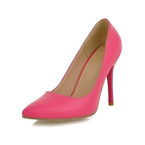VogueZone009 Damen Hoher Absatz Rein Ziehen auf PU Spitz Zehe Pumps Schuhe Rosa