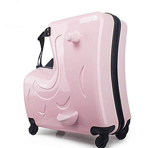 The Latest Children's Suitcase,Multi-color Optional Suitcase,Child Riding Rod Box (Pink, 24inch)