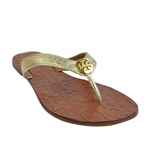 Tory Burch Thora Leather Flip Flop Shoes TB Logo