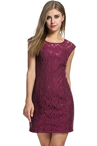 Meaneor Women's Floral Lace Vintage Midi Cocktail Party Dress Red S