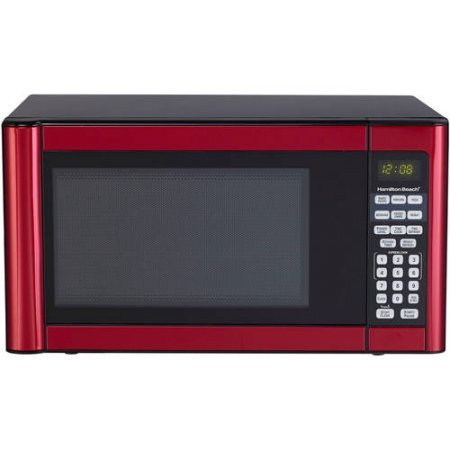 Hamilton Beach 1.1 cu ft Microwave, Features 10 power levels and several one-touch cooking (Red) (Best 1.1 Cu Ft Microwave)