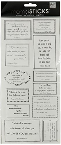 Me & My Big Ideas Sayings Stickers 5-1/2-Inch-by-12-Inch Sheet Packaged, Friendship (Sayings Scrapbook Stickers)