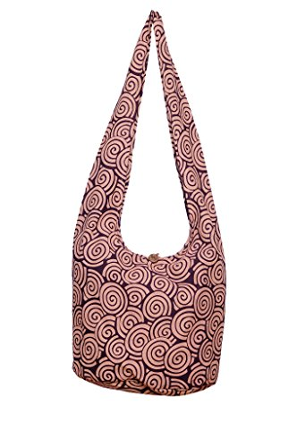 Cotton Avarada Hobo Messenger Crossbody Red Bohemian Purse Bag Sling Spiral Thai violet Hippie 55rHxFR